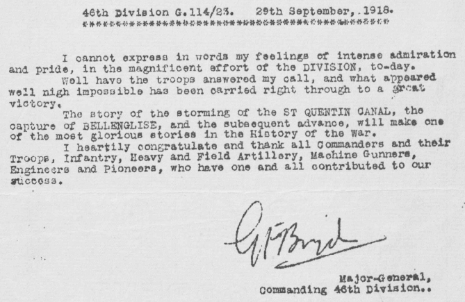 Message from the 46th Division Commanding Officer, Major-General Gerald Farrell Boyd, congratulating his men on their stunning success in taking the St. Quentin Canal