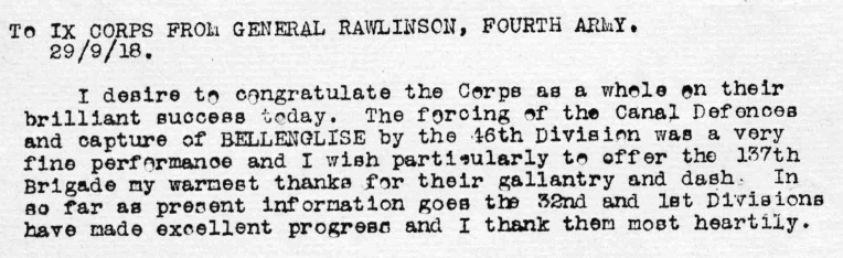 Above: Message of congratulations from General Henry Seymour Rawlinson, Commanding Officer of the British Fourth Army.