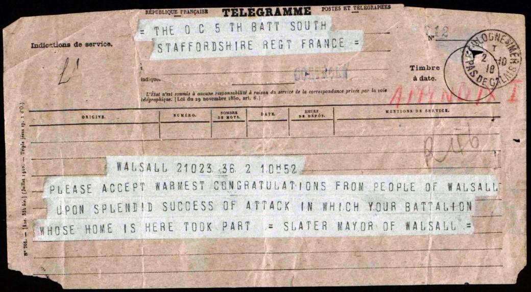 Congratulatory telegram sent by Mayor Samuel Mills Slater on behalf of Walsall Town Council