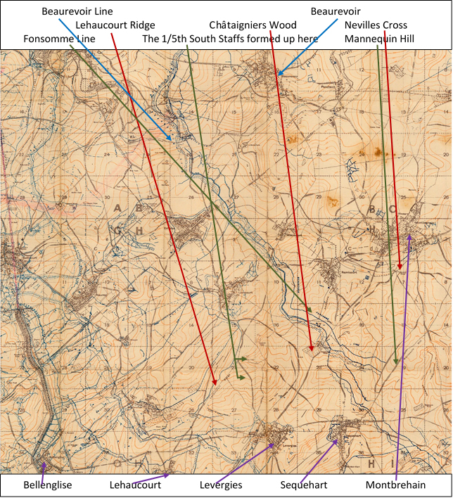 Extract from the 1:20,000 British WW1 trench map Sheet 62B NW., Edition 5a, Bellicourt, showing the area where the attack on Levergies took place on 3 October 1918