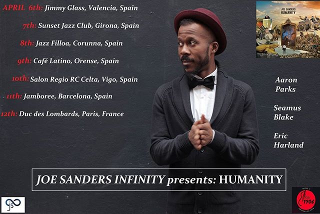 Ready to start the HUMANITY tour! Tomorrow Valencia... Happy and excited to meet you all there. #humanity #tour #jsinfinity #joesanderbass #spain #france #jimmyglassclub #sunsetjazzclub #jazzfilloa #cafelatino #salonregiorccelta #jamboree #ducdeslombards #ciclo1906 ... #aaronparks  #seamusblake  #ericharland  #frednardin