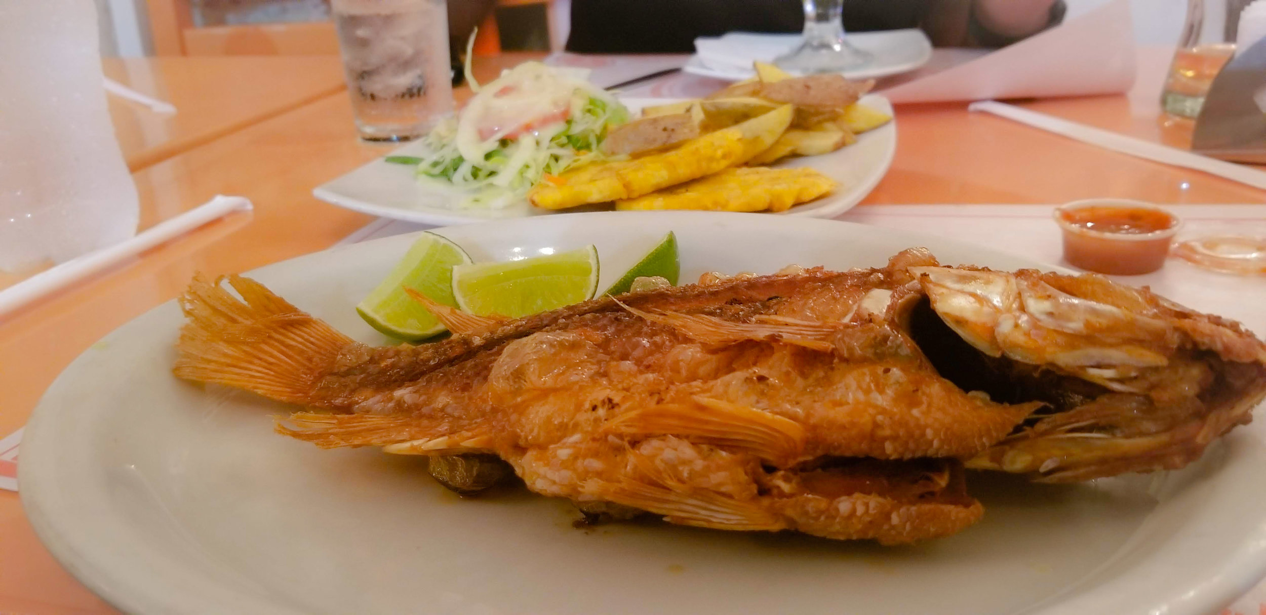 Restaurante Accion de Gracias - The fish was extremely fresh and perfectly crisp! Traditional pairing with it was plantains and salad.