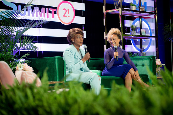 June 7, 2019 - Source: Getty Images North America) In this Photo Maxine Waters and Morgan DeBaun on stage during the Blavity Inc.'s Summit21