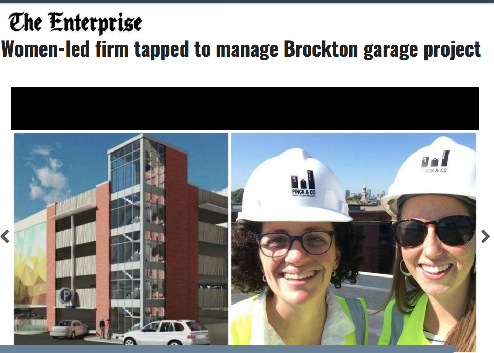 Pinck & Co. selected as project manager for a $12 million parking garage in downtown Brockton