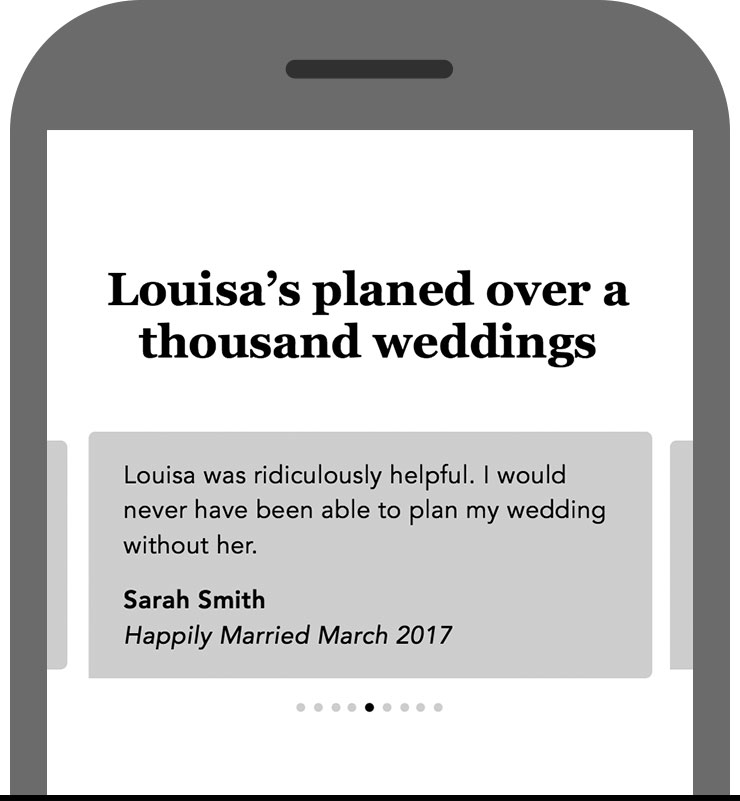 Testimonials - Using social proof to express Louisa's values