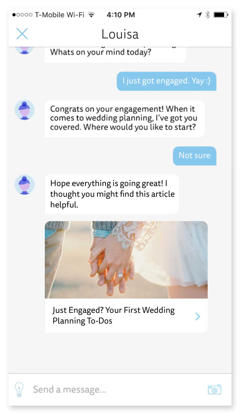 In-Chat Content Curation - Depending on the user's answers to automated questions, (bot) Louisa would suggest an article from TheKnot.com, to highlight Louisa's value as content curator.