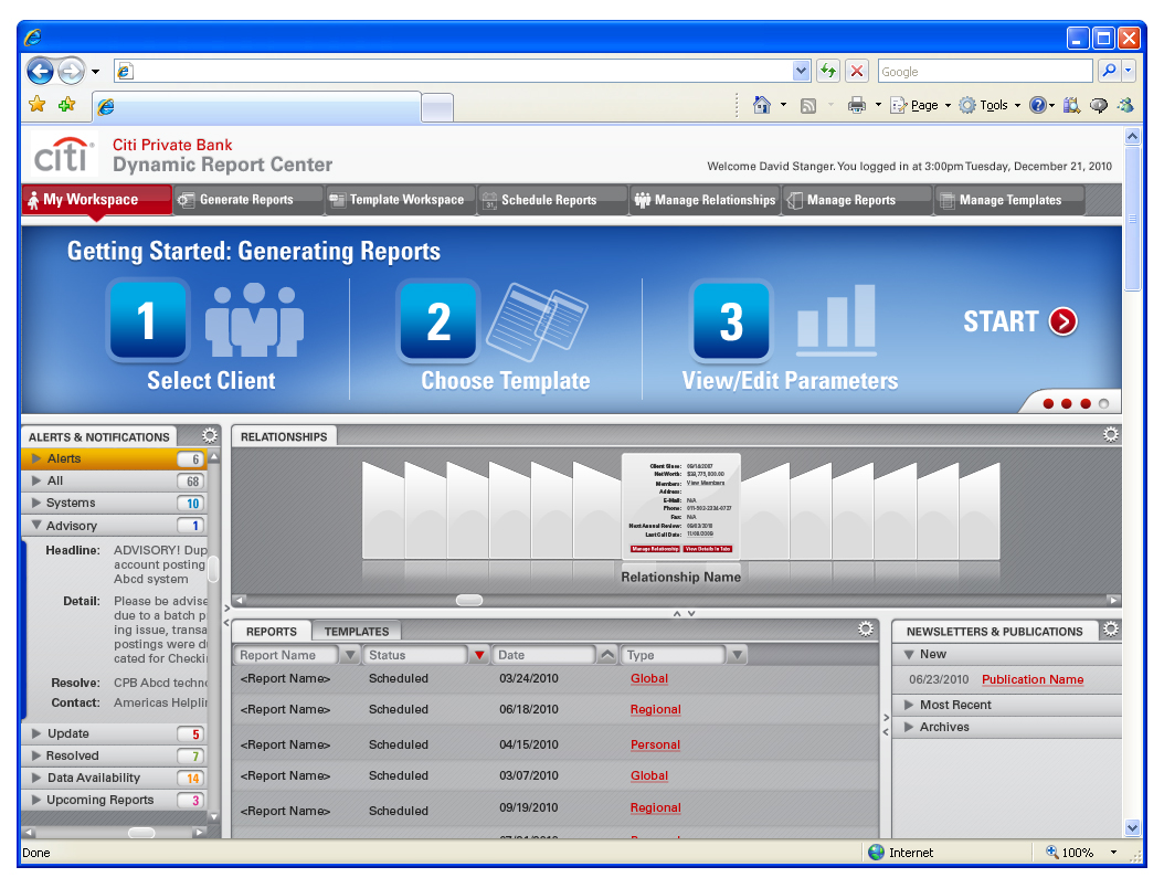 Portfolio manager dashboard