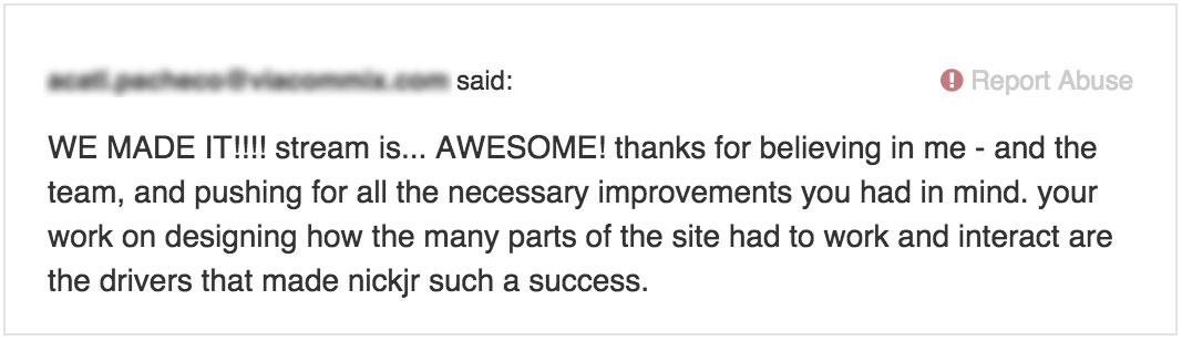 Kind words from the Lead Architect was just one of the rewards for working with such a great team.