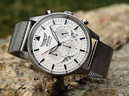 The Look: Waterproof stainless steel case round shape crown and silver stainless steel mesh bracelet with laser engraved logo on clasp, ($64.95) by Aviator