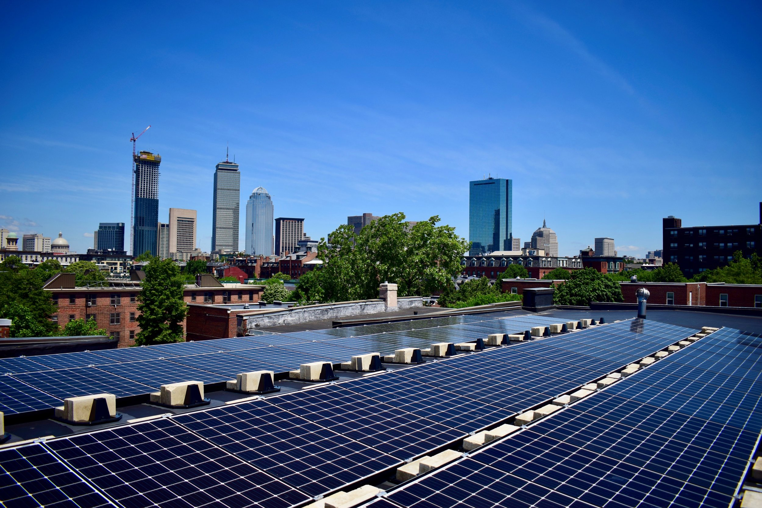 The view from the roof of Church of St. Augustine and St. Martin in Roxbury, where solar panels provide clean energy and reduced electricity costs. Photo by Cody Eaton.