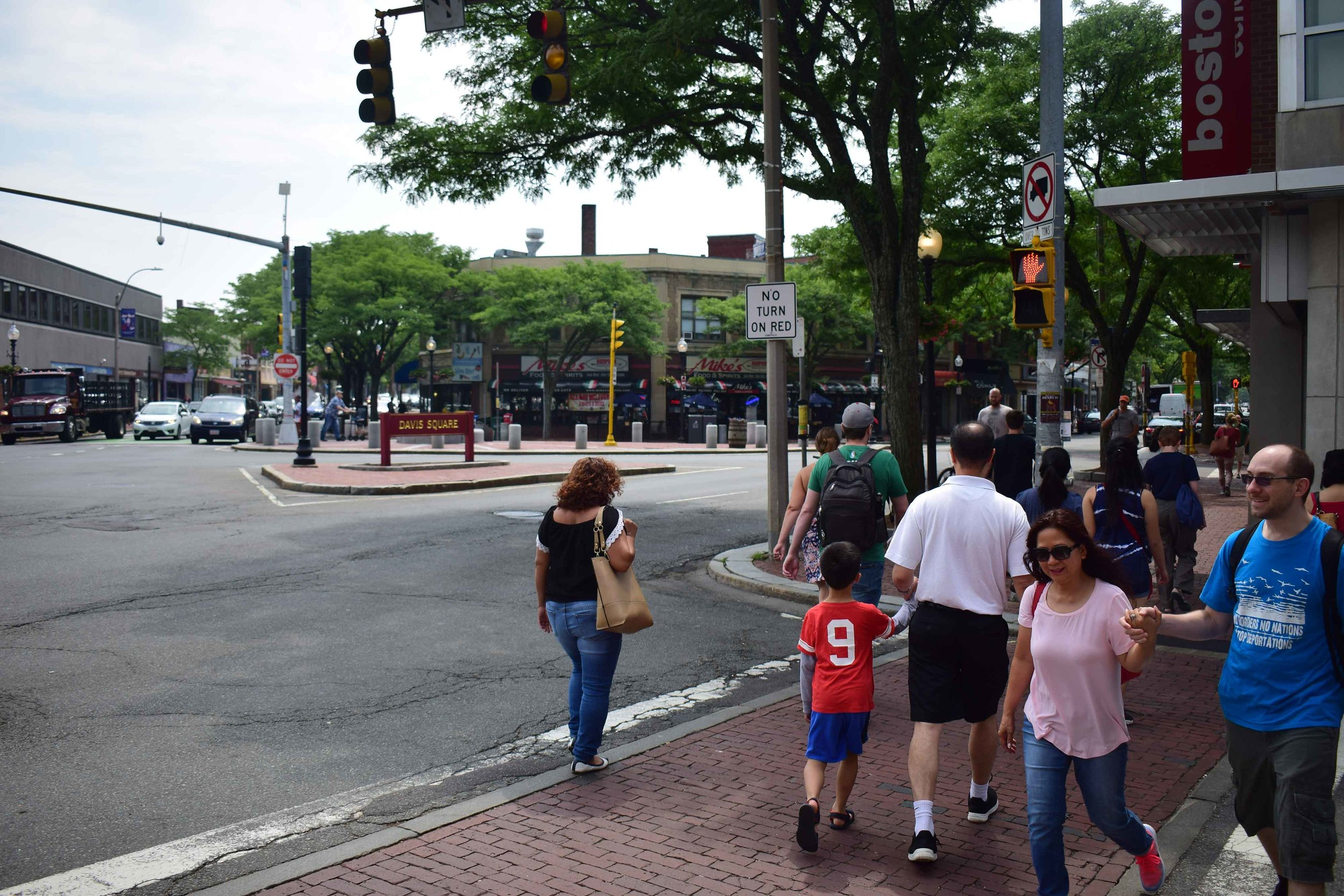 A shot of Davis Square, our new home, on a summer afternoon.