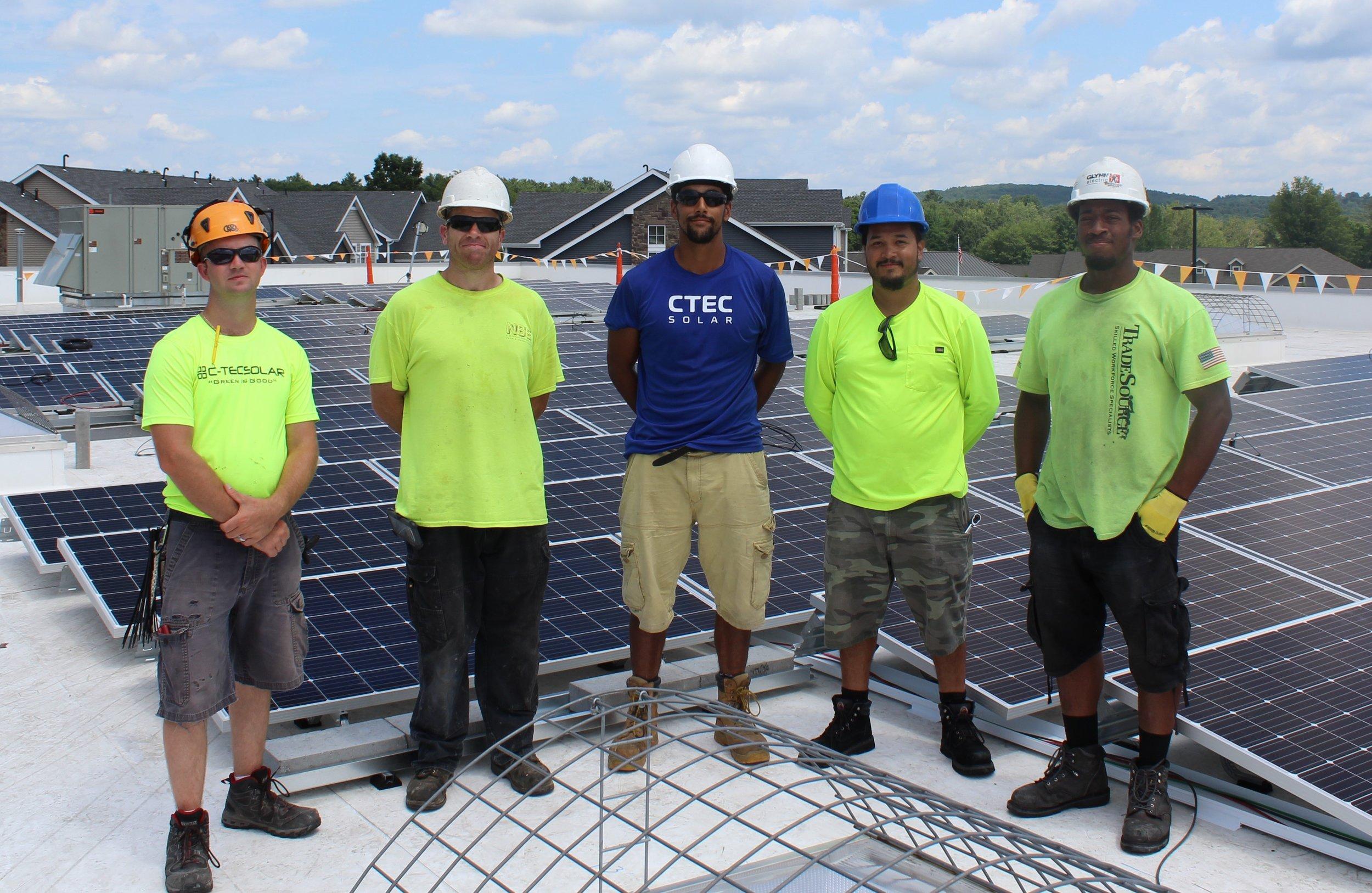 The CTEC Solar crew at the Sunwealth Whole Foods Market Sudbury solar site.