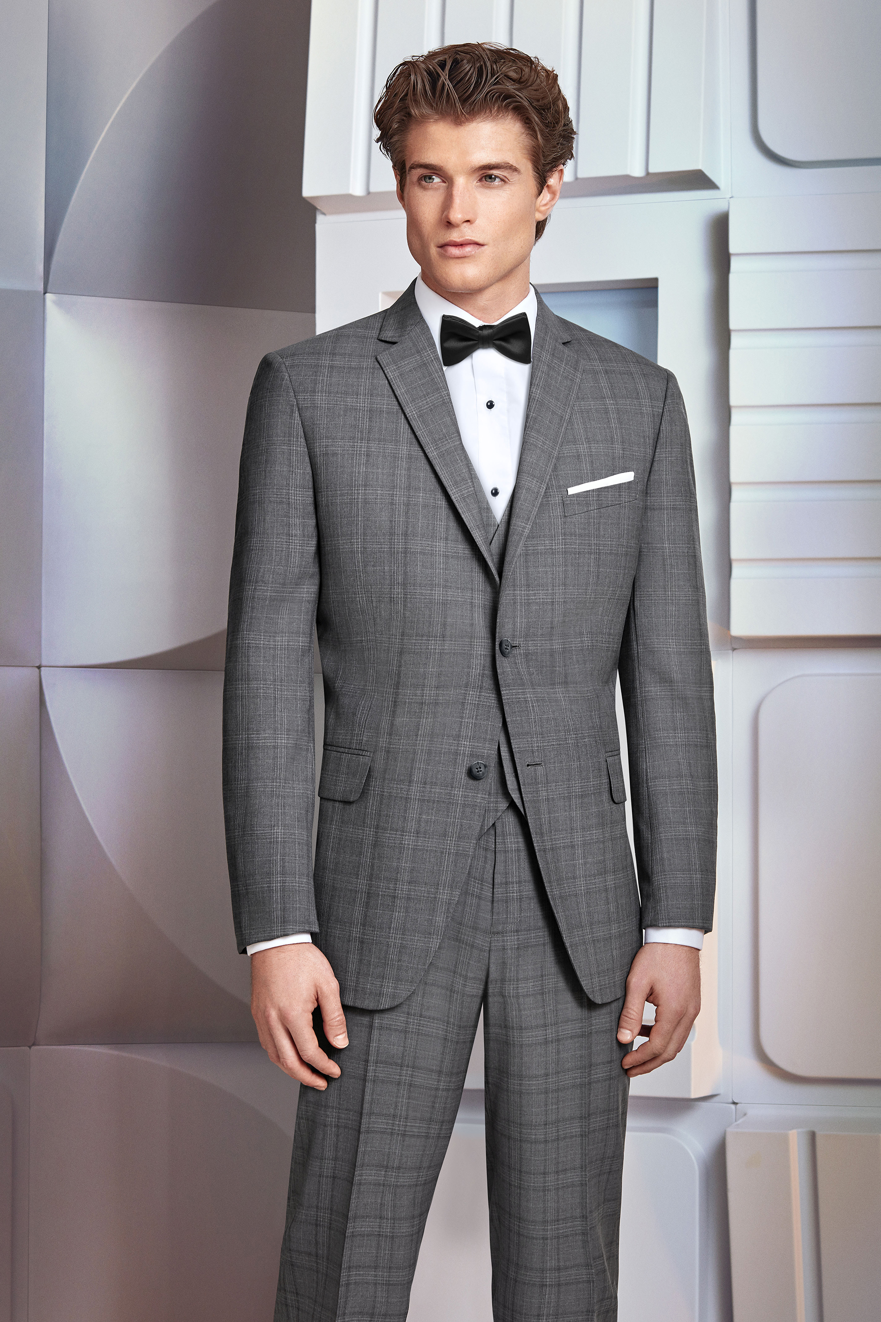 Ultra Slim Grey Plaid Hamilton Suit by Ike Behar