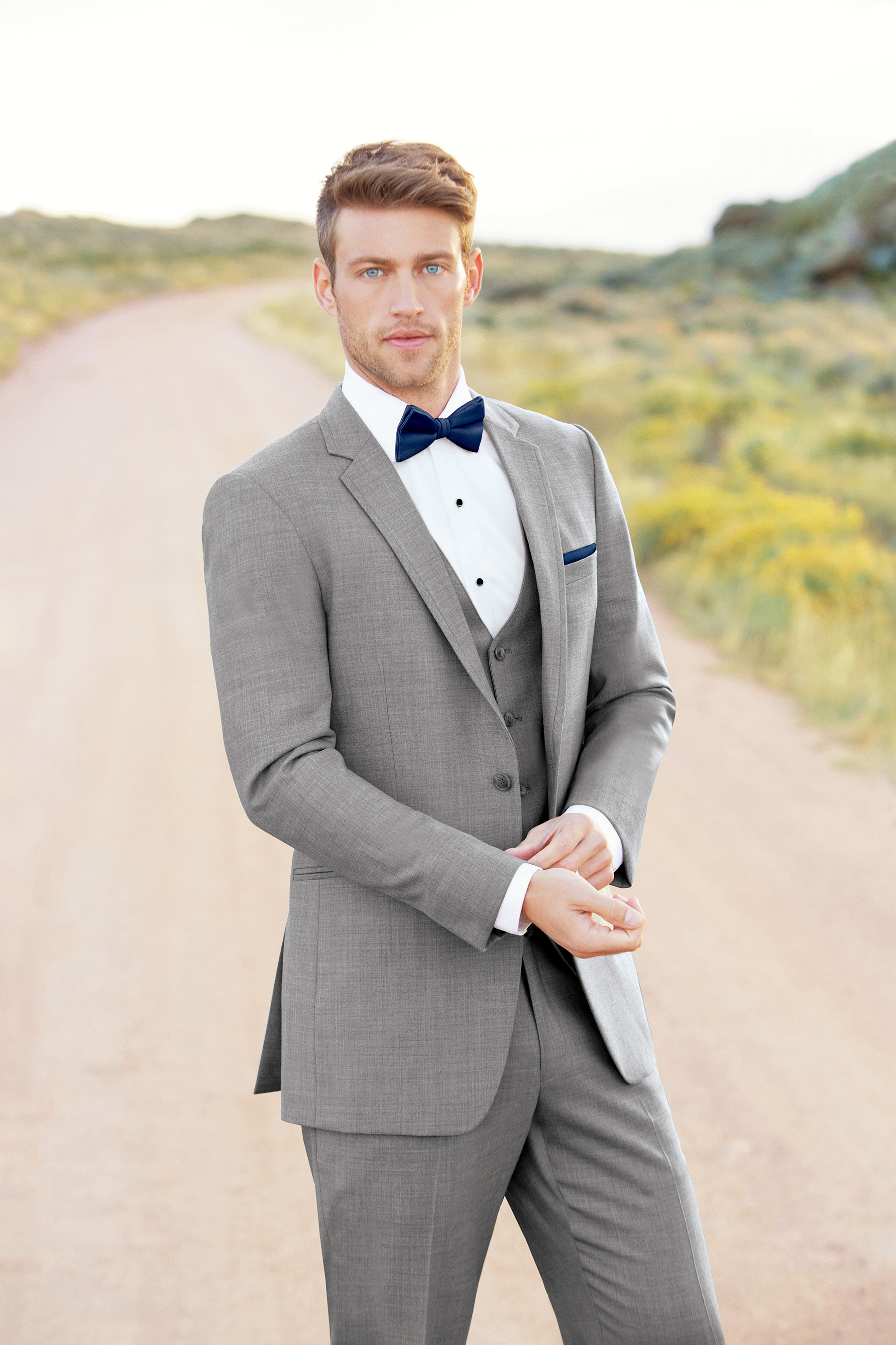 Ultra Slim Heather Grey Clayton Suit by Allure Men