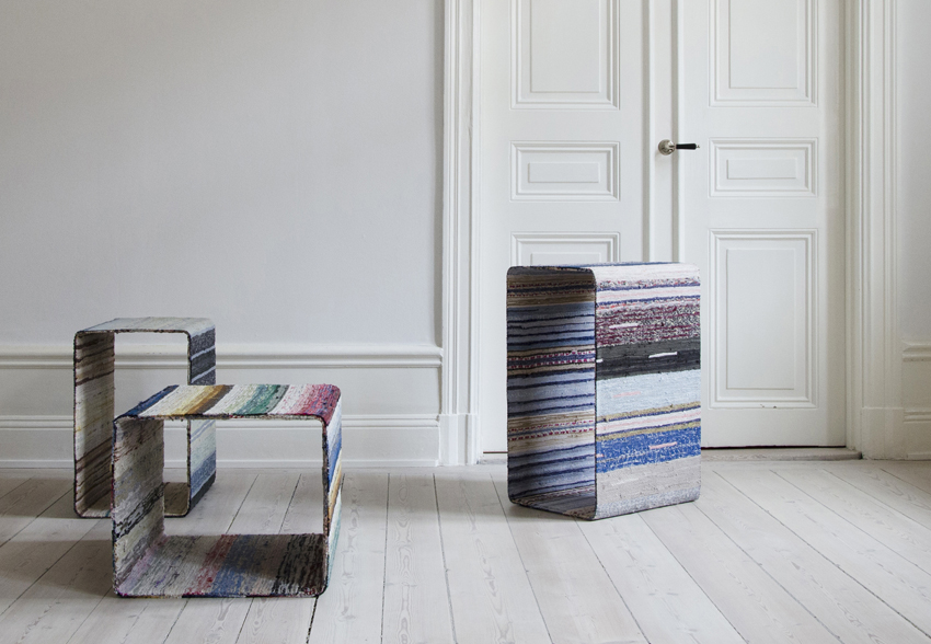 TORP, A SIDEBOARD WITH PROVENANCE Designer Lars Hofsjö has created Torp with vintage Swedish rag-rugs. Each rag-rug is unique, as is each Torp table.