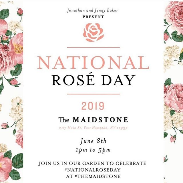 Jonathan & Jenny Baker invite you to Rosé Day at The Maidstone!  It's a perfect day to taste rosé.  #nationalroséday #themaidstone #hamptons #wine #summer #garden
