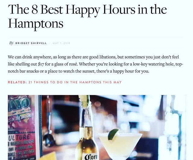 We agree @purewow... Our new Happy Hour Menu from 3pm - 6pm is making us some new friends.  Stop in and check it out yourself.    #hamptons #happyhour ⠀ .⠀ .⠀ .⠀ .⠀ .⠀ .⠀ .⠀ .⠀ ⠀ #cocktails #drinks #cheers #cocktail #mixology #beer #foodie #wine #bar #craftcocktails #craftbeer #food #cocktailhour #imbibegram #foodporn #drinkstagram #bartender
