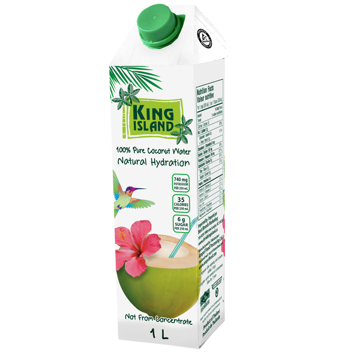 100% Pure Coconut Water - 1 L   King Island coconut water is from young green coconuts in Thailand.  Not from concentrate. No sugar added. No preservatives added. Fat free. Cholesterol free. Allergen free. Gluten free. Non-GMO Project Verified. Excellent source of potassium. Source of magnesium.  The natural and refreshing way to rapid re-hydration.   Ingredients:   100% Pure Coconut Water  Case packs: 12x1L