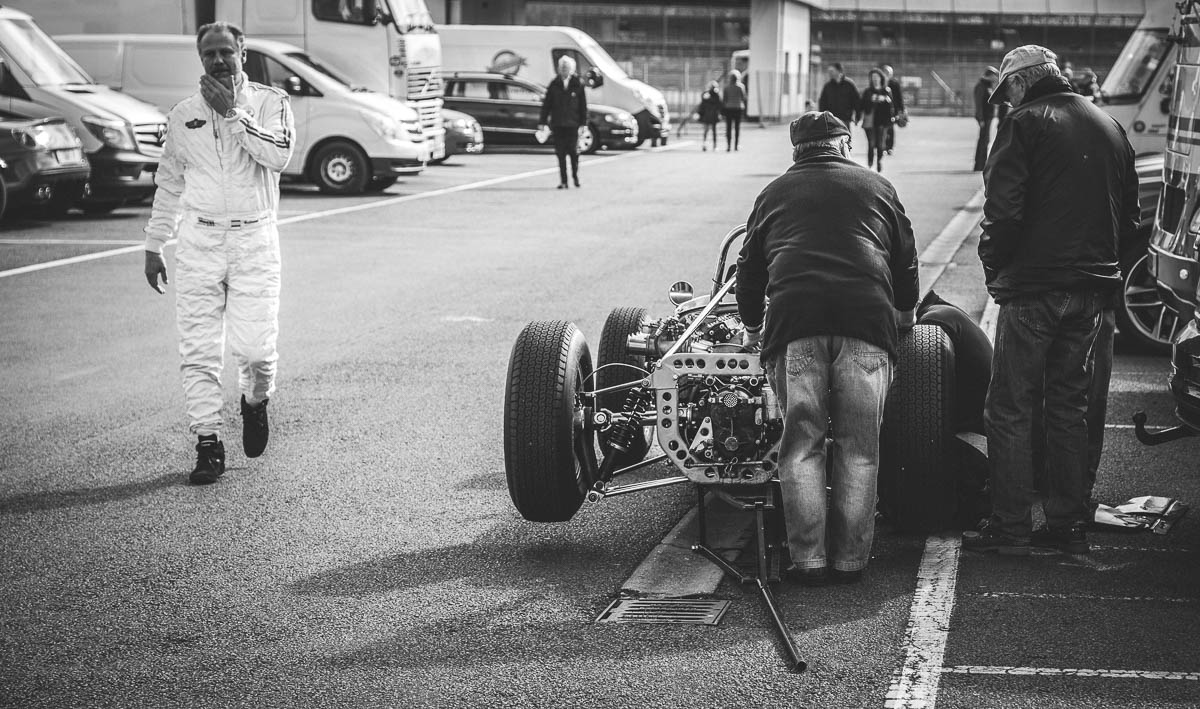 Pit action at the VSCC Formula Vintage Festival 2017 at Silverstone