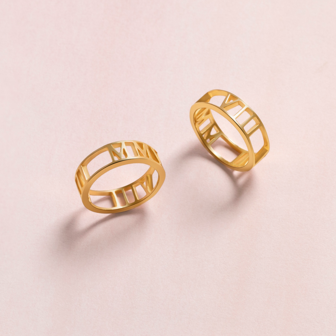 Custom Cut Out Ring: Elegantly memorialize a special date such as an anniversary or birthday in Roman numerals. This cut out ring can also be made with any name, word, or place. These make a perfect anniversary gift! (hint, hint to all the guys out there ;)
