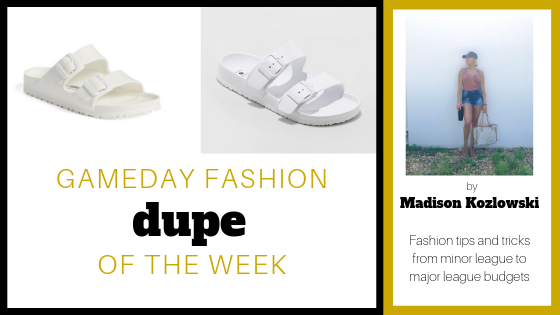"Hi guys, it's Mads with Dupe of the week! This week's dupe is Birkenstocks & what i like to call ""firkenstocks"" aka fake birks. Don't get me wrong, I love a new pair of Birkenstocks but it's hard to afford these shoes constantly. So thanks to target, we now have a dupe Birkenstock which is totally budget friendly! My new favorite are the rubber birks which aren't too expensive from Birkenstock ($39.95), but with Target's price ($12.99), I can get every color and not make my wallet feel sad. Hope you like my dupe choice of the week!  The Real Thing:  Birkenstock Arizona Slide Sandal   The Incredible Dupe:  Target Neida Eva Two Band Slide Sandals"