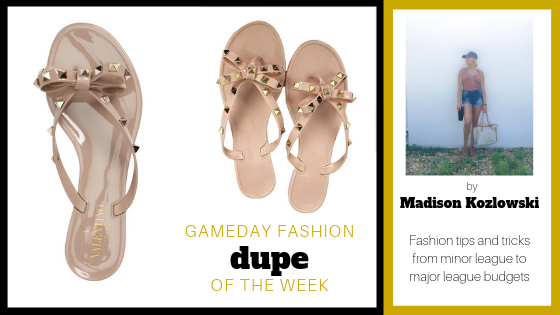 Hi guys! I'm Mads back with dupe of the week! My dupe pick this week are the oh so cute Valentino Garavani rockstud sandals and the dupe version from my favorite place to shop online, you guessed it, Amazon! The Valentino sandals are so stinkin' cute but the price is a jaw dropping $345!!! The moment I saw these Valentino sandals I new I had to have them but I couldn't spend $345 on a pair of flip flops, so thanks to Amazon, I found the perfect dupe! These dupe Valentino's are so comfortable and look identical to the real thing!! These flip flops can be dressed up with a cute pair of jeans or dressed down with a simple pair of leggings. I hope you enjoy my dupe of the week! Xoxo  Spendy:  Valentinos   Thrifty:  Amazon Dupe