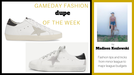 Hi guys! Welcome back to Dupe of the week! My dupe choice of the week today is, *drumroll*, Golden Goose sneakers! These sneaks are meant to look a little rough around the edges & worn, but are timeless and go with absolutely any outfit! As always, the real deal are always way more expensive than the dupe, and this week is no exception. The real Golden Goose sneakers are $495, while the dupe Golden Gooses are only $30 from Shein, my all time favorite place to online shop!!!! Thanks for reading my Dupe of the week!! See you all again next week. Xoxo - Mads  Spendy:  Golden Goose Superstar Sneaker   Thrifty:  Shein Star Patch Lace Up Splice Sneakers