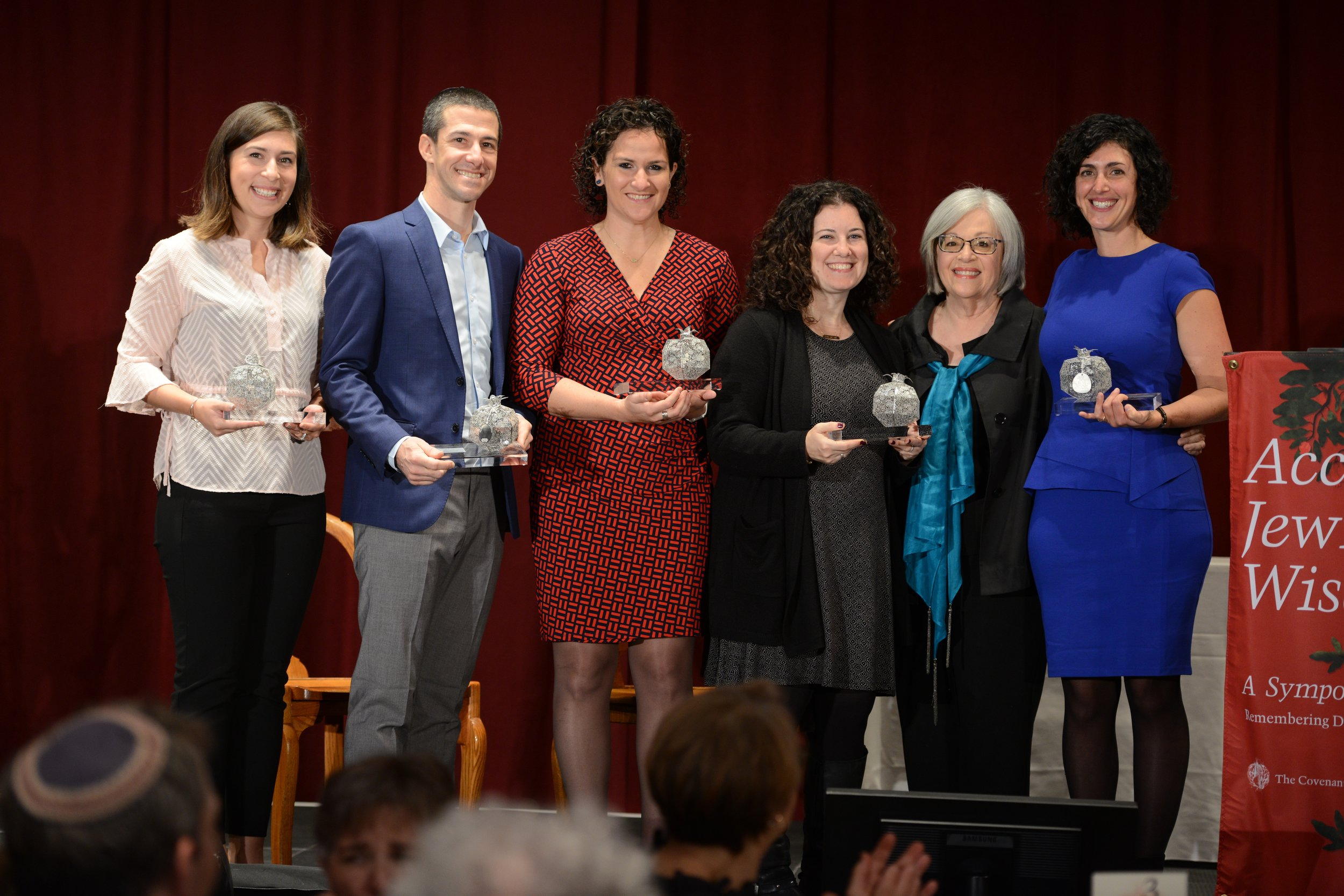 The 2018 Pomegranate Prize recipients, with Covenant Foundation Board Chair Cheryl Finkel. From left to right: Hannah Kearney, Oren Kaunfer, Maiya Chard-Yaron, Ilana Gleicher-Bloom, Cheryl Finkel and Rabbi Adina Allen.