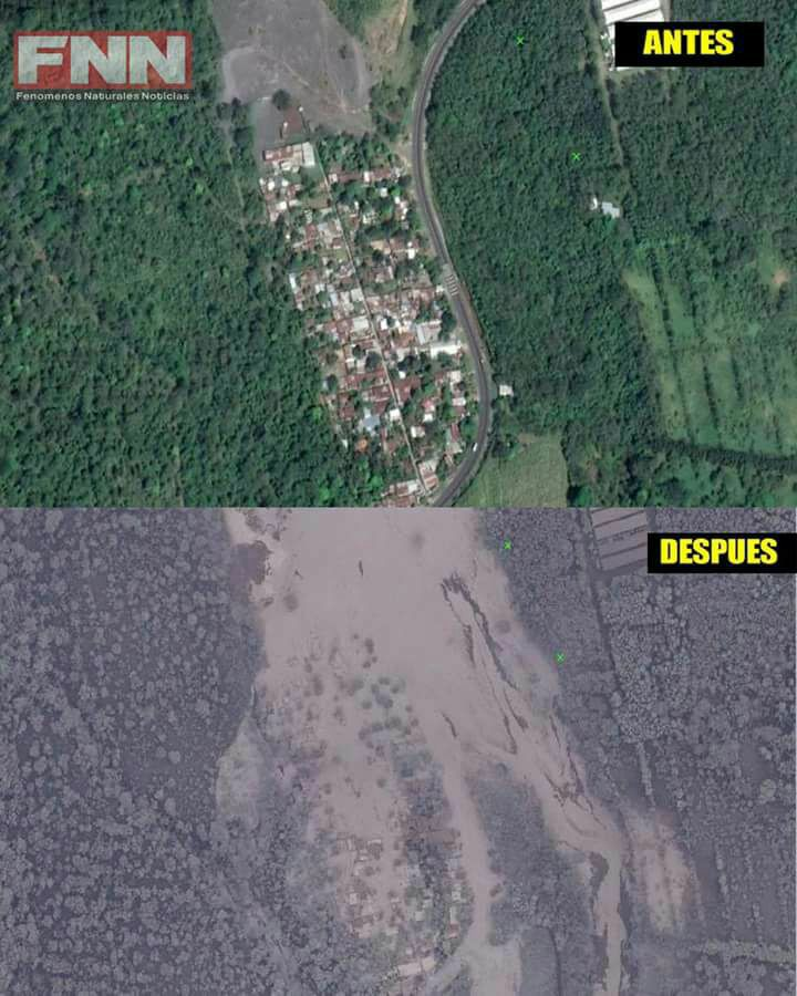 The village of El Rodeo before and after the eruption. A whole village wiped out. Source: Meteorología GT