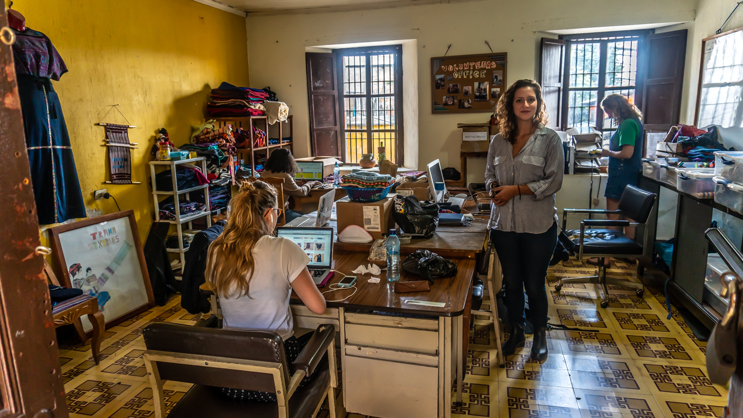 Our Services and Operations Manager in a nonprofit partner's office in Xela, Guatemala