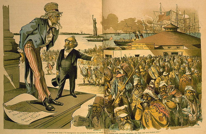 "A cartoon, published in 1891, titled ""Where the Blame Lies."" shows a man gesturing toward a crowd of immigrants — including the ""German socialist,"" ""Italian brigand"" and ""English convict."" The gesturing man tells a sagging Uncle Sam: ""If Immigration was properly Restricted you would no longer be troubled with Anarchy, Socialism, the Mafia and such kindred evils!""  (Sackett & Wilhelms Litho. Co./Library of Congress)"