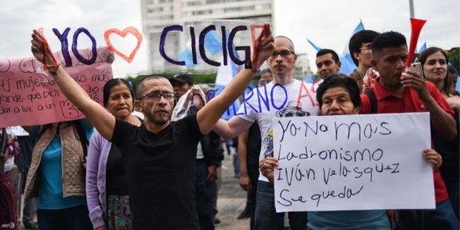 Supporters of CICIG demonstrate in Guatemala Sept 2018 (UN Human Rights/Twitter)