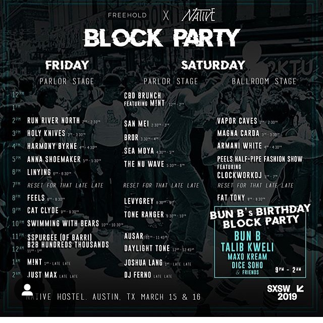 The last weekend of SXSW 2019 is upon us and we are so stoked to be a part of the madness at @nativehostel x @thefreehold on Saturday - with sets from @fattonyrap @thenuwavesound @ausarmusic @seamoyaa @sanmei and more! Come on out to the biggest block party in town - hit the halfpipe and stay for @bunb's birthday bash!