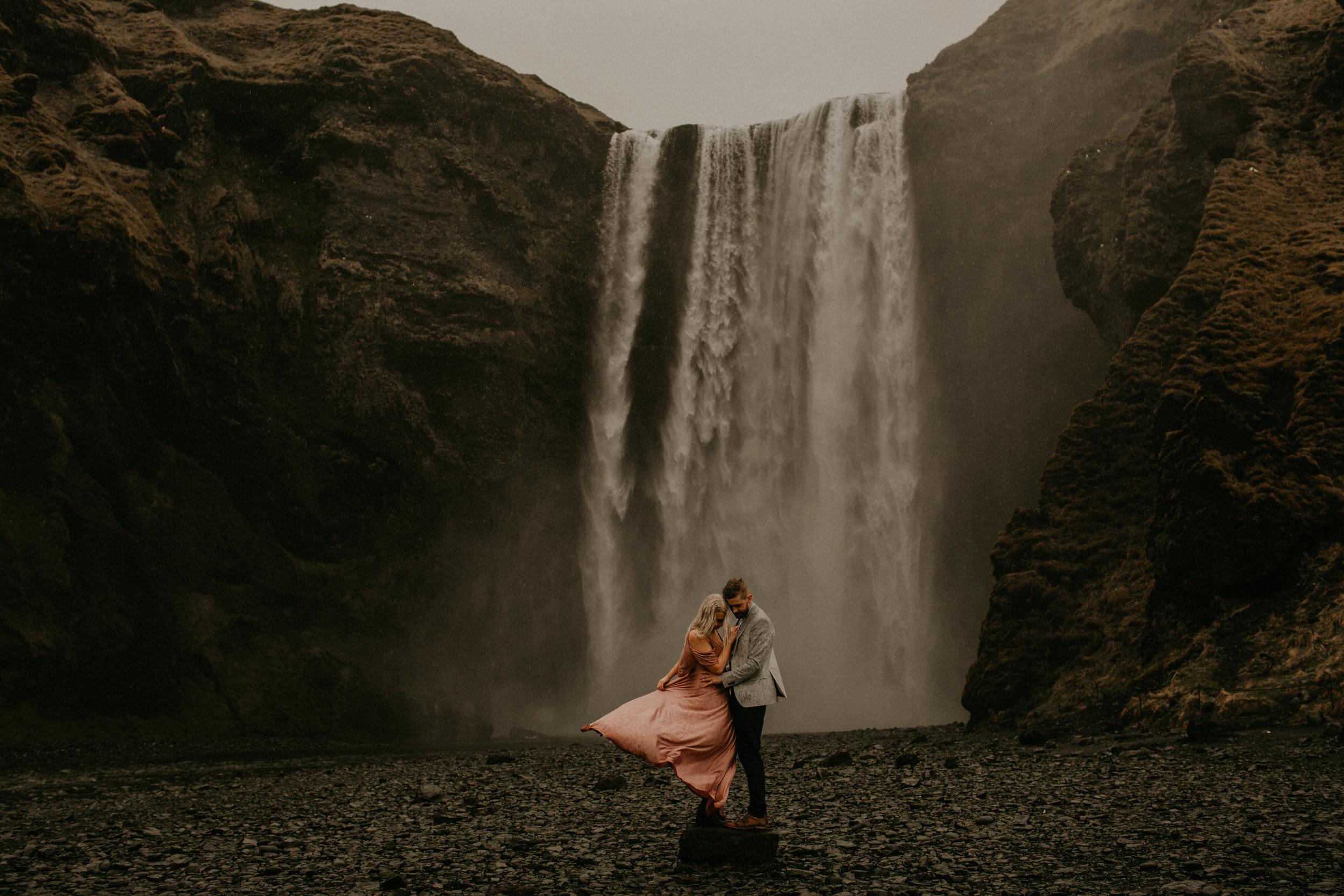 skogafoss falls iceland elopement