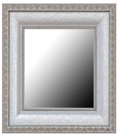 Framed Mirror - The second is keeping the mirror but adding a frame around it! This picture  is of a framed mirror coming from mirrormate.com. It is a website that allows you to keep the plain mirror but add some style by changing it up. You can shop by color, frame style, décor and/or size. This is definitely on my to do list!