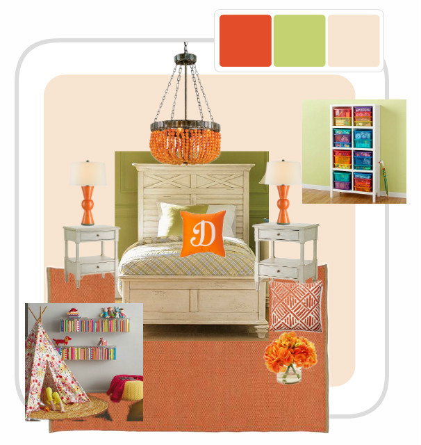 Here,  - I have put together a mood board using the green and orange for an older child's room. Don't you love it?!