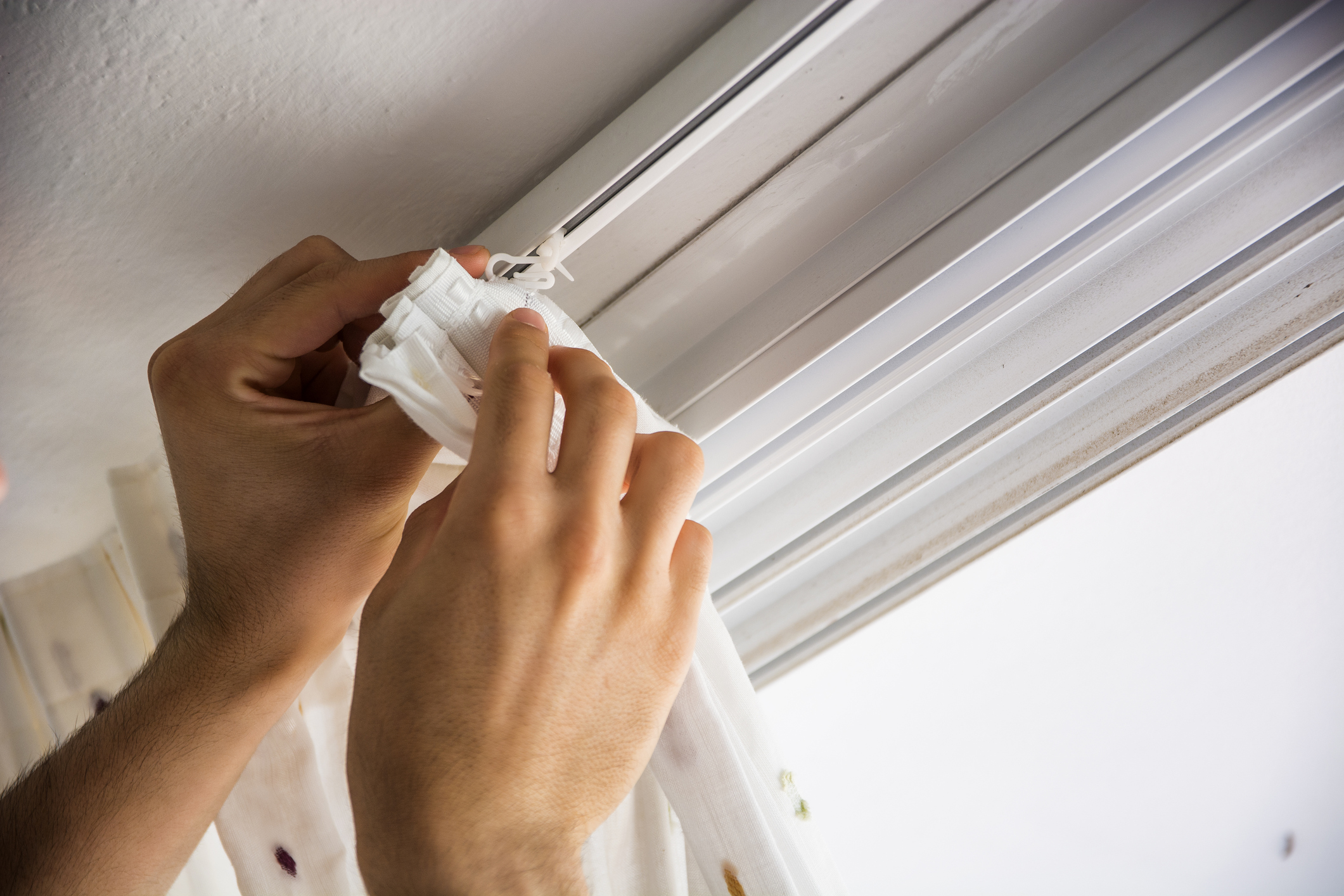 Track - The hooks attach to pulleys inside a trackInstalled into the wall or ceilingCurtains will glide nicely