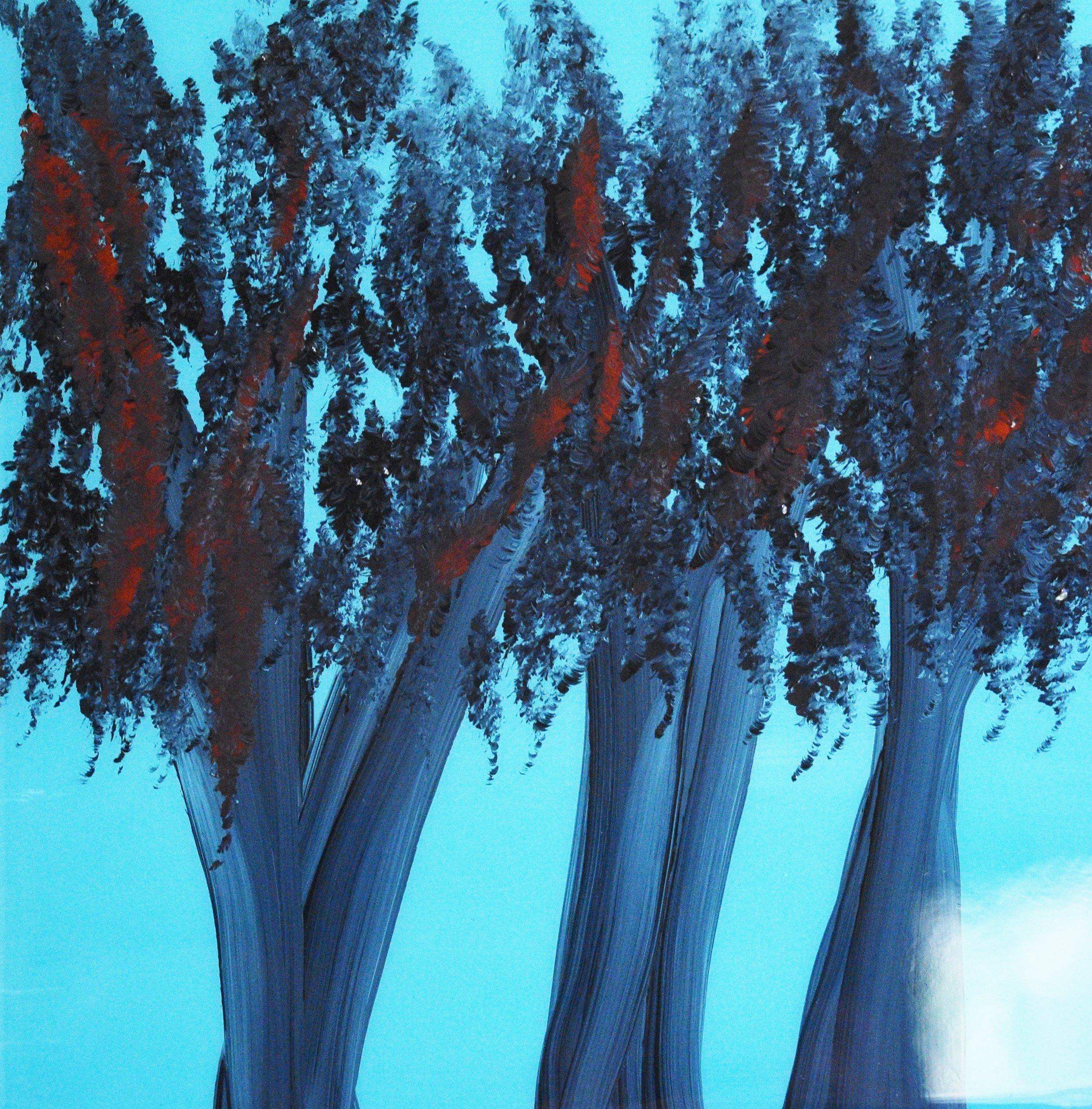"""Three Trees"" Art Resin Covered Oil Painting. (12""x12"" 31cmx31cm)"