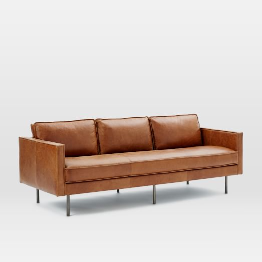Axel Leather Sofa - My designer friend found this AMAZING sofa at West Elm. It's the PERFECT sofa in my opinion, but I couldn't choke down the $2,799+shipping & tax price tag...