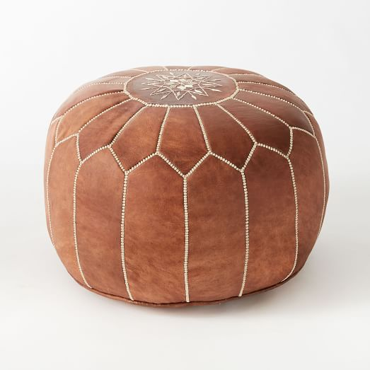Moroccan Leather Pouf - This is a great multi-use piece that adds a nice flare to any space, but not enough to shell out $299!