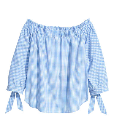 Blue Gingham Off-the-Shoulder Top