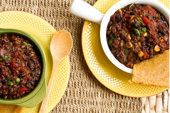 Smokey BBQ Chili - One of my friends introduced me to the Oh She Glows blog, and I've never been the same. Great meatless, but I sometimes add browned ground turkey to the recipe. (Side note: Stubb's BBQ Sauce totally makes this chili, so go with that brand. Trust me.)