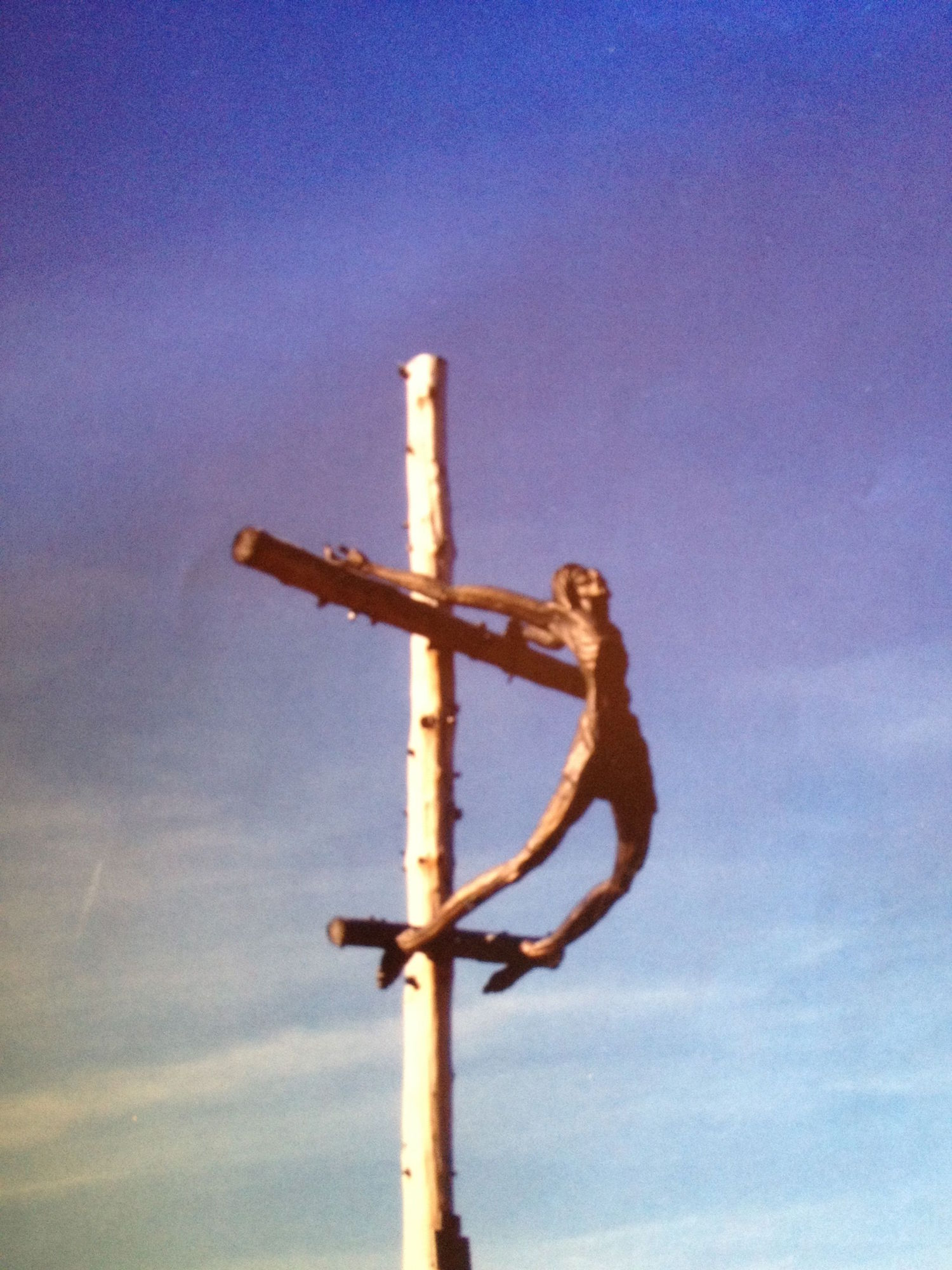 Statue on a pass we skied over in Italy.  -