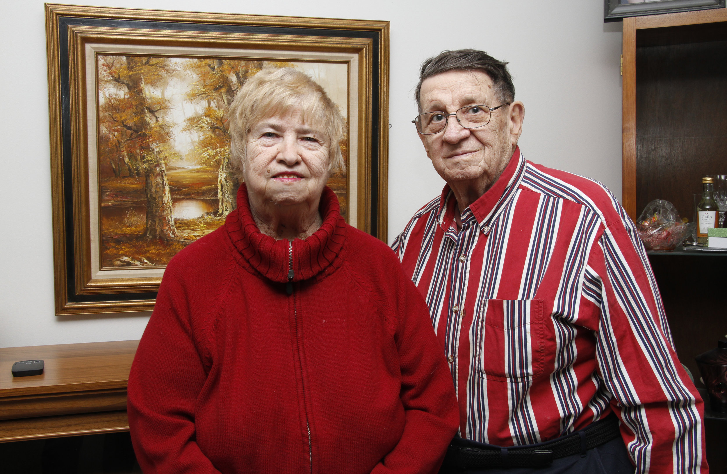 Nancy and Norbert Glowacki, of Calumet City, Illinois, are pictured in their home. The two met on Jan. 31, 1962 while polka dancing at Eddie's Crystal Tap in Burnham. On Feb. 14 that same year, Norbert asked Nancy to marry him. The two celebrate Jan 31. and Feb. 14 every year by going out to dinner at the Cavalier Inn in Hammond, Indiana or the Warsaw Inn in Lynwood, Illinois.
