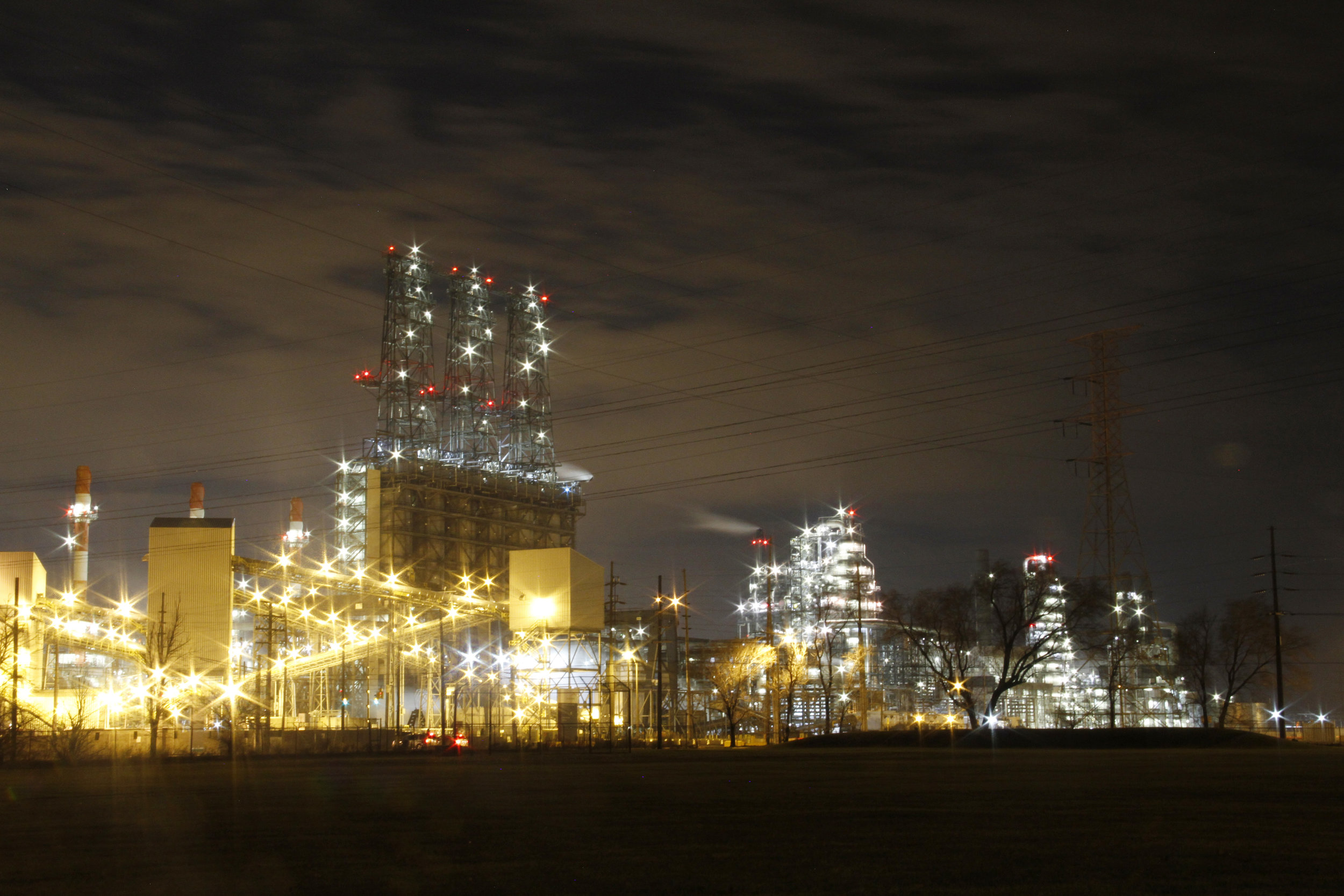 The British Petroleum oil refinery is seen from the Marktown Historical District in East Chicago, Indiana.