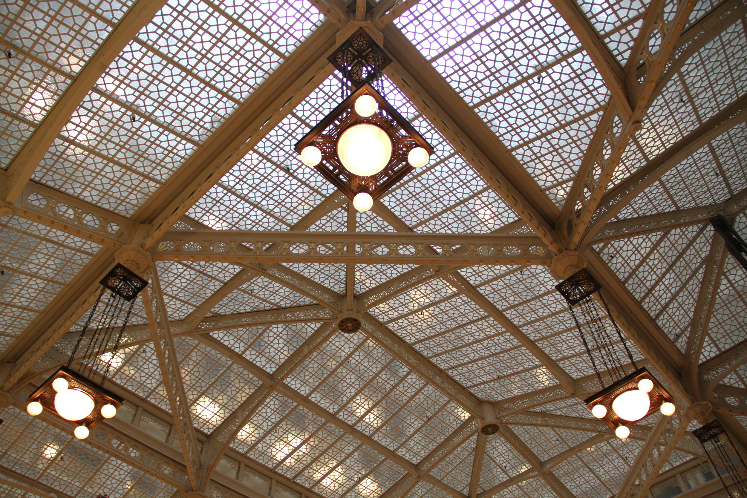 The ceiling of The Rookery in Chicago, Illinois.