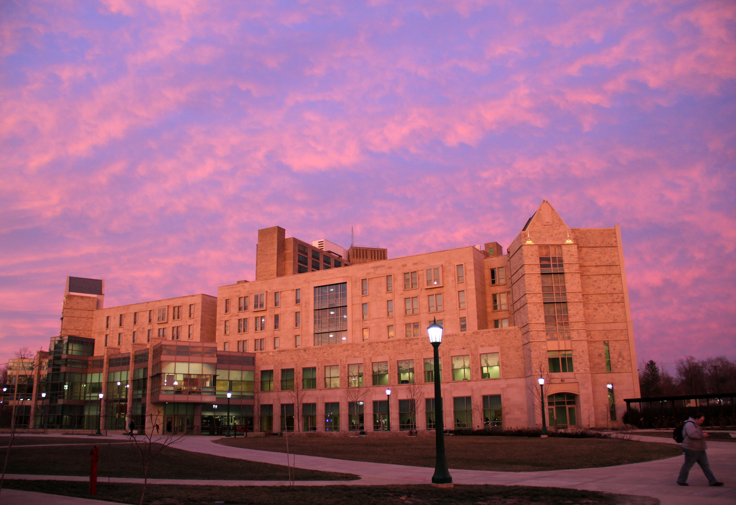 Cedar Hall at Union Street Center is seen at dusk on the Indiana University campus in Bloomington, Indiana.