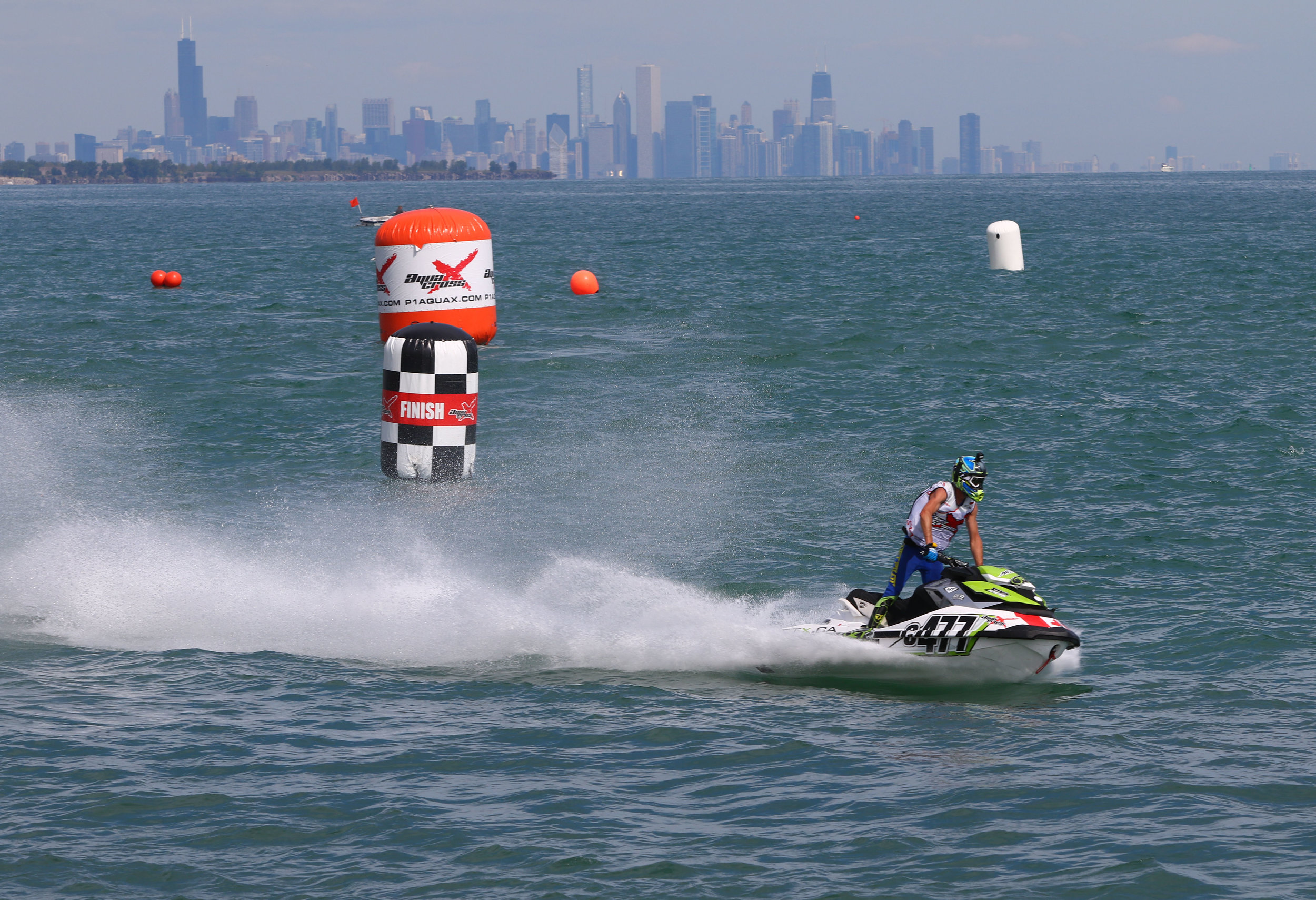 Jay Edworthy, of Cambridge, Ontario, glides past the finish line in race No. 2 of the AquaX Whiting Grand Prix.