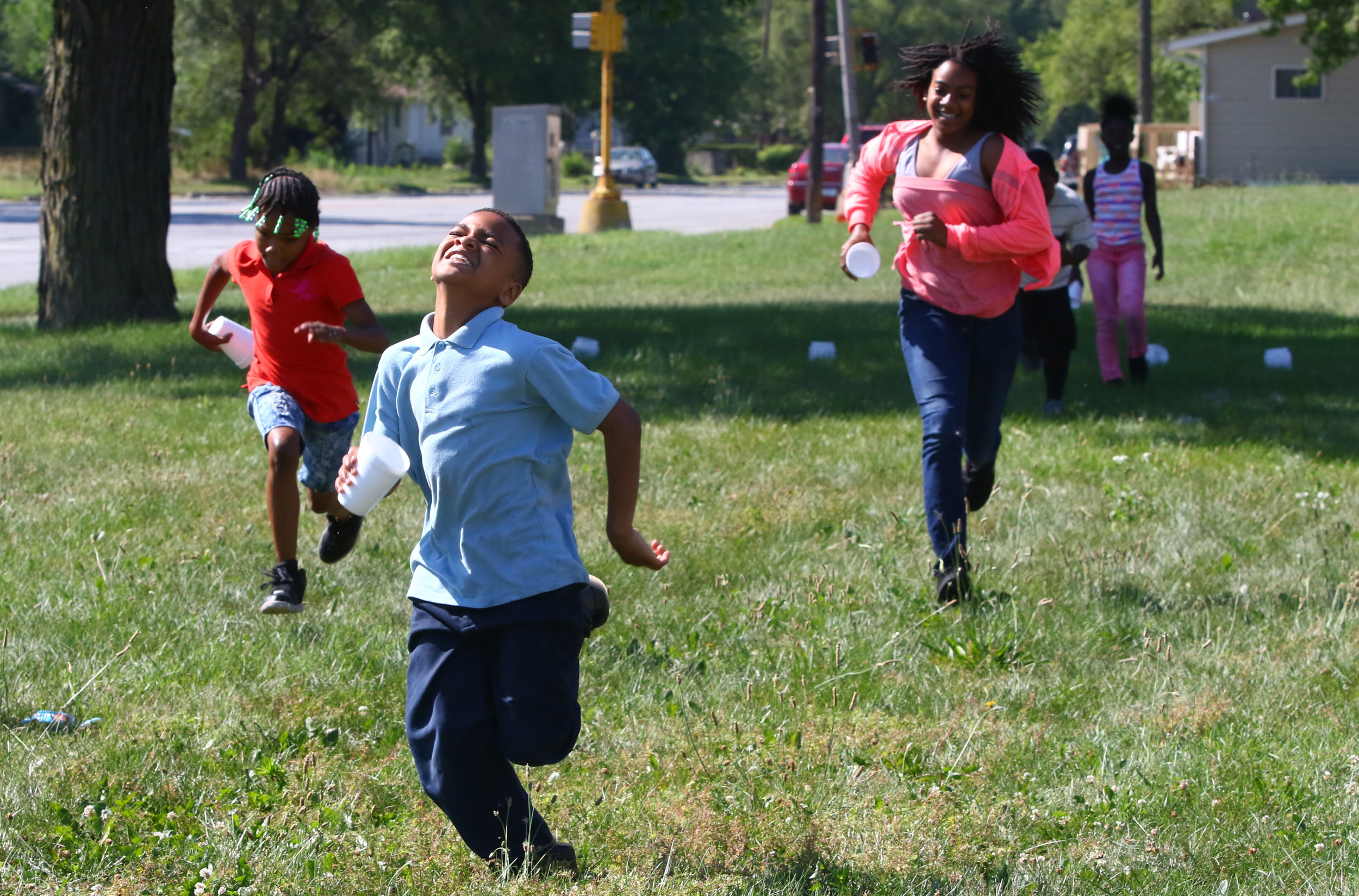 From left, Karma Dolton, a fifth grader at Daniel Hale Williams Elementary School in Gary, Davon Davis, a fifth grader at Beveridge Elementary School in Gary and Latasha Stewart, a fifth grader at Glen Park Academy for Excellence in Learning in Gary, participate in an activity in the Summer Enrichment Program being hosted at Daniel Hale Williams Elementary School.