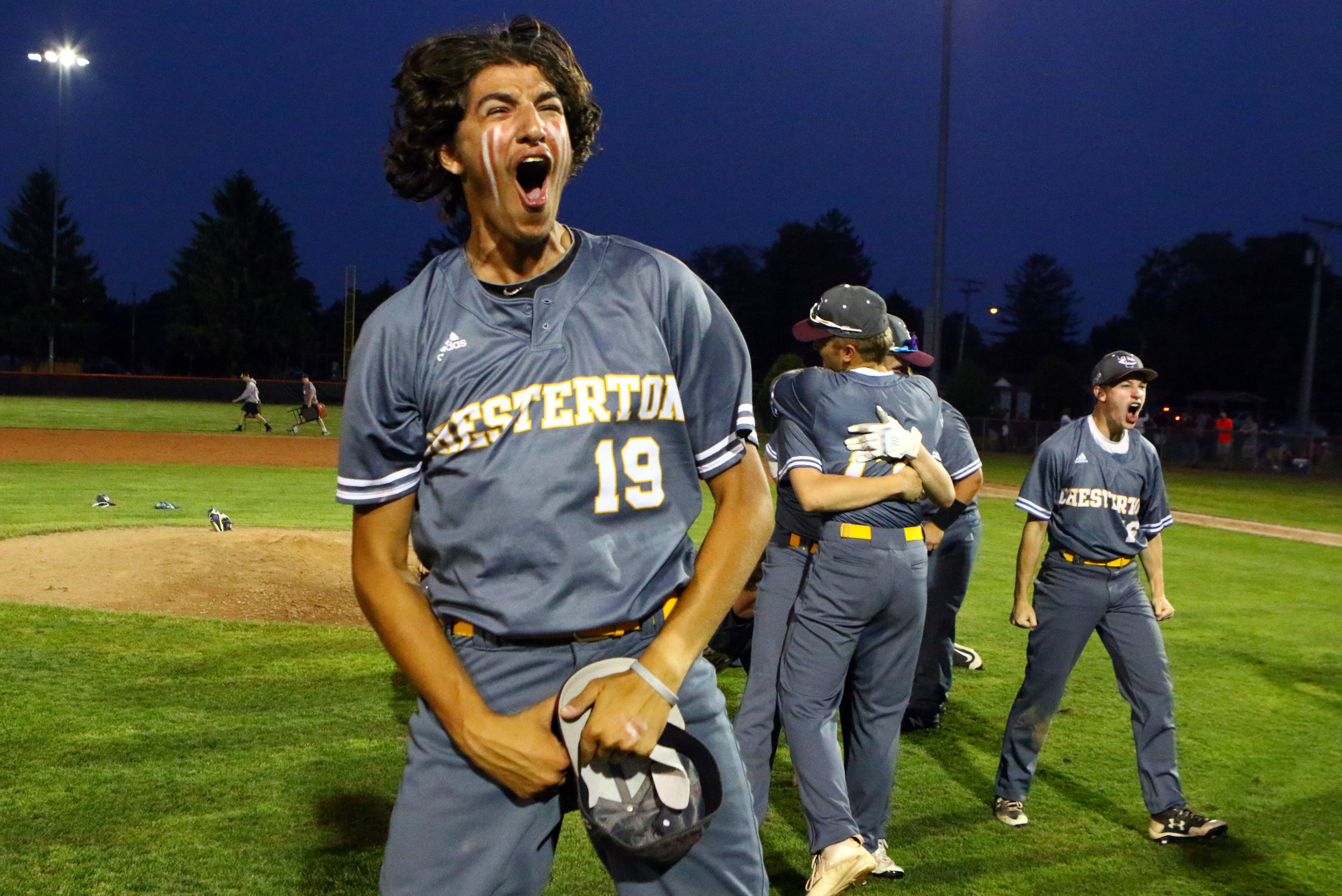 Chesterton's Haydn Malackows reacts on the field after Chesterton defeated Mishawaka 4-1 to win a regional final in LaPorte.